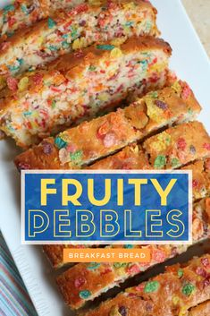 Have breakfast anytime with this delicious Fruity Pebbles Breakfast Bread - it's oh-so-good! Swap out the Fruity Pebbles for other Post cereals. Cereal Recipes, Baking Recipes, Snack Recipes, Dessert Recipes, Snacks, Breakfast Bread Recipes, Eat Breakfast, Birthday Breakfast, Fruity Pebbles Cereal