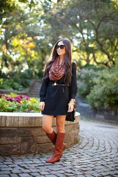 Cute way to wear a dress in the fall.
