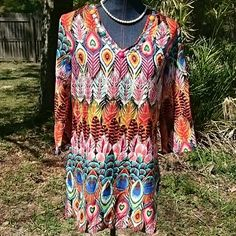 "Lifestyle Colorful Hippie Boho Blouse Cute lightweight blouse, 3/4"" sleeves, slit on both sides. Silky polyester material, great summer weight.  Peacock print, very colorful. New w/ tags. Lifestyle  Tops Blouses"