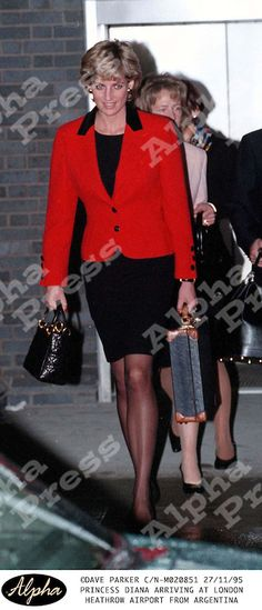 27/11/95 LONDON HEATHROW AIRPORT..PRINCESS DIANA ARRIVING FROM HER TOUR OF ARGENTINA.