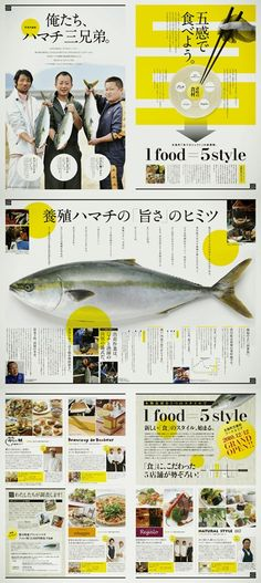 FIVE SENSES Food Graphic Design, Japanese Graphic Design, Ad Design, Book Design, Graphic Design Posters, Print Design, Editorial Revista, Editorial Design, Editorial Layout