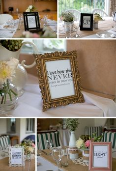 Groom/Bride writes his/her favorite things about the bride/groom, print them, and frame them for around the reception space
