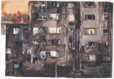 Rear Window art - Fönstret mot gården by Lars Lerin - Swedish Lars Lerin, Art Painting, Artist Inspiration, Cityscape, Drawing Illustrations, Art, Watercolour Inspiration, Landscape Art, Interesting Art