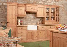 Kabinet dapur kayu Pine.