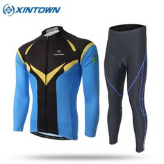 2017 Team Cycling Clothing Long Sleeve Blue Cycling Jersey Thin Quick-Dry MTB Bike Clothes Breathable Bicycle Sportswear #Affiliate