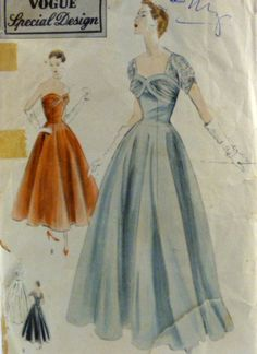 Vintage 50s Vogue Special Design Pattern S-4413 Evening Gown Two Lengths Two Styles