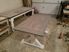Big X Farmhouse Table With Linen Base And Special Walnut And Weathered Gray  Top.