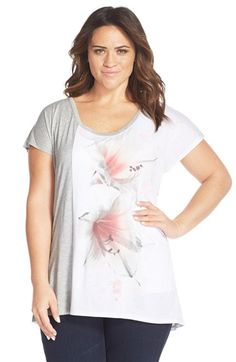 DKNY Jeans Colorblock Floral Print Top (Plus Size)