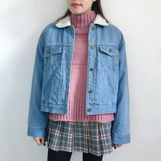 Check Skirt Pants | Knit Top | Lined Denim Jacket