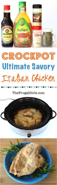 Crock Pot Savory Italian Chicken Recipe! ~ from TheFrugalGirls.com ~ just a few simple ingredients and you've got a crazy delicious chicken dinner!  This makes a great Crockpot Freezer Meal, too!