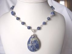 necklace denim blue sodalite necklace new for spring by sydemcgus, $22.00