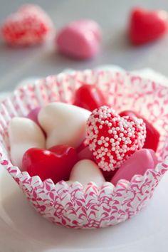 Valentine candy in a cupcake paper