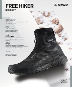 Adidas Terrex Free Hiker Sports Advertising, Winter Hiking, Gore Tex, Product Photography, All Black Sneakers, Ads, Boots, Free, Style
