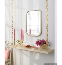 Suspended shelves? Oh yes. May use this as a nightstand idea!