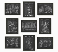 Science Patent Prints Set of 9 - Chemistry Wall Art - Periodic Table Microscope Laboratory Equipment Poster Set Of 9 - Chemist Gift Idea