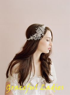 17700f0b8ae Handmade Crystal Ice Bridal Sparking Headpiece Beaded Wedding Headpiece  Bride Accessories Hair Accessories Bridal Headband Headpieces Hair Clips  For Thick ...