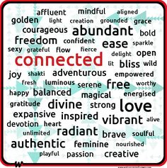 Well Connected Humans, Core Desired Feelings, Desire Map, Connected, abundant, ease, free, love, vibrant, radiant, authentic, divine, freedom, creative, inspired, expansive, balanced, magical, courageous, wordle, word cloud, words.