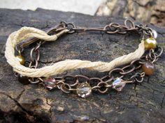 Beaded MultiStrand Bracelet Silk Chain by TinyYellowKeyDesigns