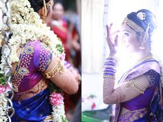 South Indian bride. Purple Kanchipuram silk sari. Braid with fresh flowers.Temple jewelry. Tamil bride. Telugu bride. Kannada bride. Malayalee bride. Hindu bride.