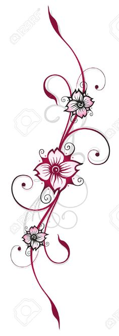 23898920-Floral-element-cherry-blossoms-spring-time-Stock-Vector-tattoo-tribal.jpg (459×1300)