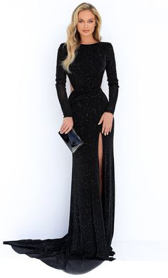 Fitted Prom Dresses, Cute Prom Dresses, Prom Dresses Long With Sleeves, Prom Outfits, Black Prom Dresses, Gala Dresses, Black Long Sleeve Dress, Black Sparkly Dress, Black Gown With Sleeves