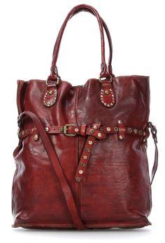 Campomaggi Borchie Con Fiore Tote bordeaux 42 cm - C3109VLCC-1506 - Designer Bags Shop - wardow.com