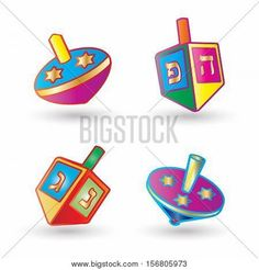 Hanukkah Festival of Lights. Dreidel a small four-sided spinning top with a Hebrew letter on each side, used by the Jews. Set of Spinning top isolated on white background, symbol of Hanukkah Jewish Holiday. Стоковые векторные изображения и Стоковые фотографии | Bigstock