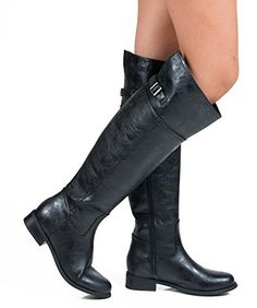 Want This:  Breckelles Womens Rider 82 Riding Boot NEW BLACK PU 7