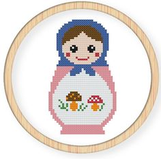 Buy 4 get 1 free,Buy 6 get 2 free,Cross stitch pattern, Cross-StitchPDF,Russian Doll,Matryoshka  Babushkas,zxxc0009. $4,50, via Etsy.