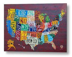 Nummernschild Karte Kunst der Vereinigten von designturnpike, $199.00