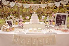 Doily Banner (top)& burlap banner (bottom)-love how its attached to the lace
