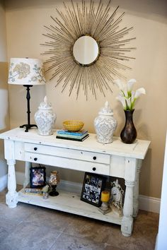 Love table and wall mirror.