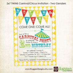 Twin carnival Birthday invitation-Custom!