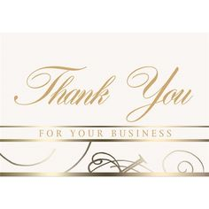 "The Vernon Company from Newton IA USA. NO SET UP CHARGES, 3 1/2"" x 5"" Business Thank You Card.  Gold script thank you card design is perfect for maintaining client relationships. Choice of 3 stock sentiments plus your company logo or message gold foil stamped inside. Create your own custom sentiment with a small additional charge. Free white mailing envelopes included, cards not inserted. Over 50 designs and themes of business note cards available."