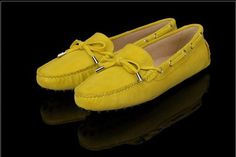Tods Cowhide Gommino Yellow Driving Shoes