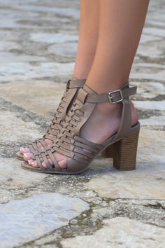 Birmingham Bay Caged Taupe Heel Sandals - Amazing Lace
