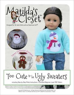 Matilda's Closet Too Cute to be Ugly Sweaters Doll Clothes Pattern 18 inch American Girl Dolls | Pixie Faire