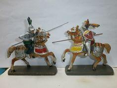Konvolut 2 alte Hausser Elastolin Massefiguren Ritter Reiter zu 7cm   eBay