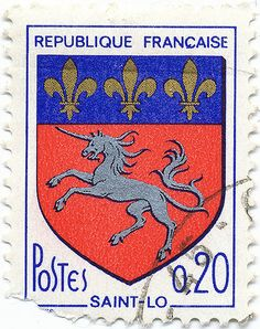 1966 French Stamp - Coat of Arms of Saint-Lô