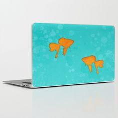 #laptopskin #ipadskin #goldfish #silhouette #aquatic #turquoise