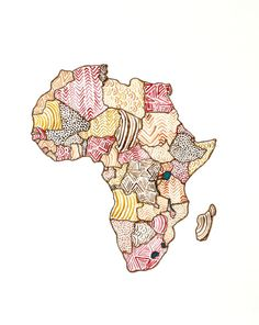 """Africa Map - Original Watercolor Painting, 8""""x10"""" on Etsy, $17.00"""
