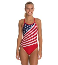 TYR American Flag Female Crosscutfit One Piece Swimsuit - Navy/Red - 28