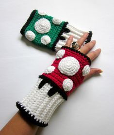 Super Mario Bros Mushroom Crochet Wrist Warmers no pattern but looks so easy to make