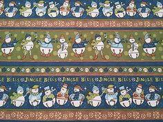Jingle Bell Snowmen Stella Jean Wilmington BTY Christmas Blue Green Brown Stripe