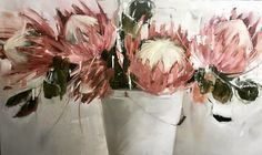 In my studio.... Proteas  91x 252cm  Nicole Pletts  Nicoleplettsfineart.com Flor Protea, Protea Art, Protea Flower, Watercolor Flowers, Watercolor Art, Art Flowers, Australian Flowers, Australian Wildflowers, Still Life Art