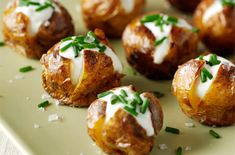 Christmas Party Food Ideas Cook mini potatoes until golden brown, then slice open and add some sour cream and chives.