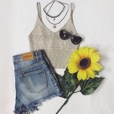 Ready for summer! #OOTD #denimshorts #croptop #CharlotteLook