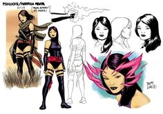 Psylocke: X-Men character sketches by Daviz Lopez. Man Character, Character Sketches, Character Modeling, Comic Character, Character Design, Marvel Comics, Marvel Art, Psylocke, Marvel Characters