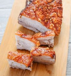 This is the best pork belly recipe I& made. The pork skin is incredibly crispy, perfectly golden, and the prep work is very minimal compared to all the other pork bellies I& made. No need to score or puncture holes in the skin. Best Pork Belly Recipe, Pork Recipes, Cooking Recipes, Easy Pork Belly Recipes, Asian Recipes, Recipies, Steak Dinner Sides, Chicharrones, Crispy Pork