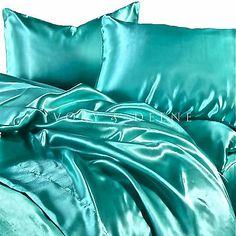 New Luxury Turquoise Silk Satin Queen Size Bed Sheet Set Hotel Bedding Linen New | eBay